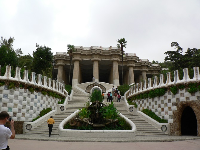 Park güell is the most famous park in a hill of Barcelona