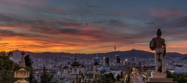 Views from montjuic, one of the most famous hills of barcelona