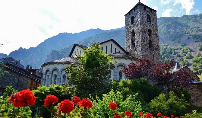 Pyrenees from a Barcelona apartment Esglesia de Sant Esteve Andorra la Vella
